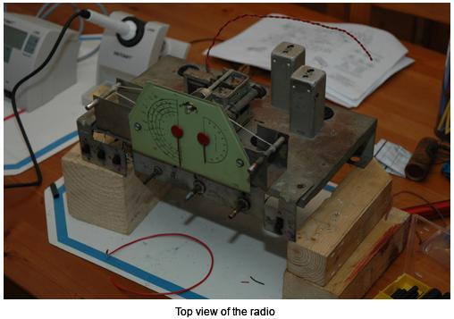Top view of the radio